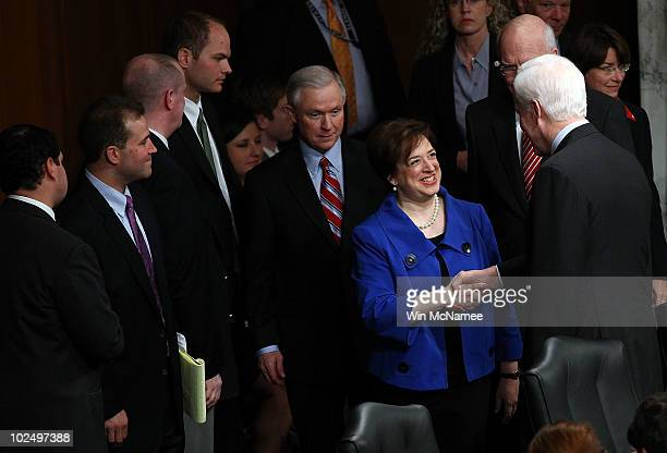 S Supreme Court Justice nominee Elena Kagan shakes hands with Sen John Cornyn as she arrives with Jeff Sessions ranking member of the Senate...