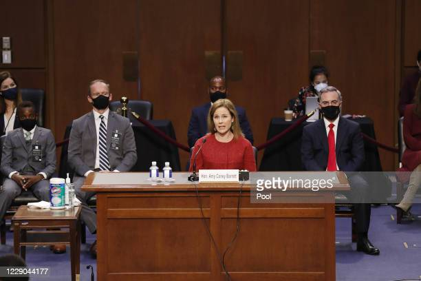 Supreme Court Justice nominee Judge Amy Coney Barrett answers questions on the second day of her Supreme Court confirmation hearing before the Senate...