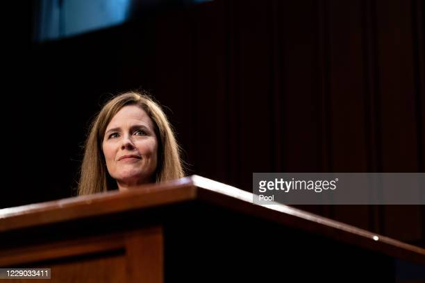 Supreme Court Justice nominee Judge Amy Coney Barrett gives her opening statement during the Senate Judiciary Committee confirmation hearing for...