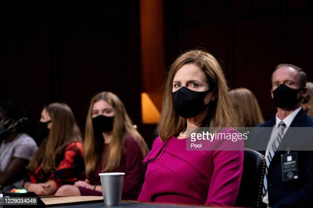 Supreme Court Justice nominee Judge Amy Coney Barrett listens during the Senate Judiciary Committee confirmation hearing for Supreme Court Justice in...