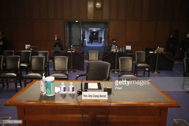 Supreme Court Justice nominee Judge Amy Coney Barrett's desk sits empty before she arrives to participate in the Senate Judiciary Committee...