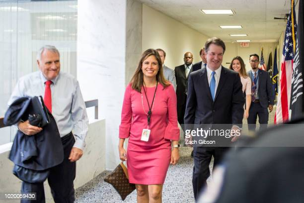 Supreme Court Justice nominee Judge Brett Kavanaugh walks to a meeting with Sen Dianne Feinstein on Capitol Hill on August 20 2018 in Washington DC...