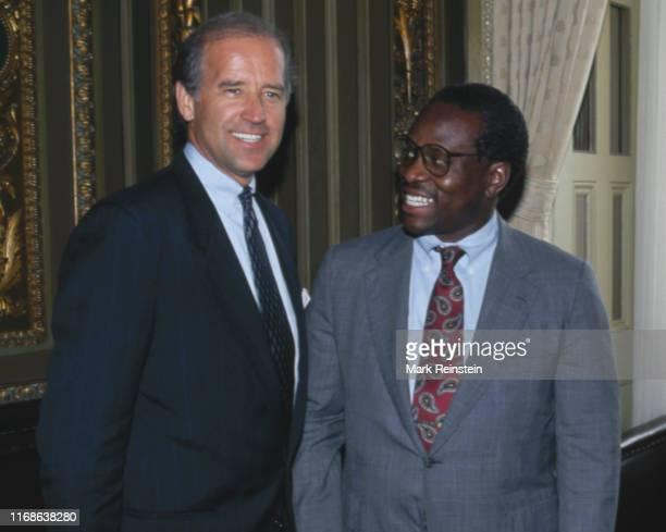Supreme Court Justice nominee Judge Clarence Thomas, right, poses with Senate Judiciary Committee chairman Senator Joe Biden, in Washington, DC, July...