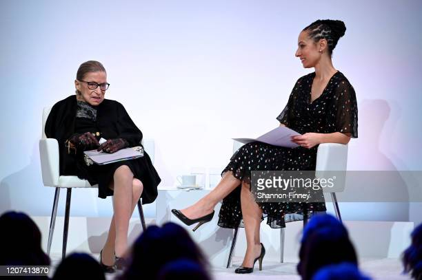 Supreme Court Justice Ruth Bader Ginsburg and Ria Tabacco Mar speak at the DVF 2020 Awards at the Library of Congress on February 19, 2020 in...