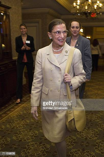 Supreme Court Justice Ruth Bader Ginsburg arrives for a dinner to honor Michelle Bachelet, Chile's first female president May 8, 2006 in Washington,...