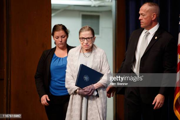 Supreme Court Justice Ruth Bader Ginsburg arrives to deliver remarks at the Georgetown Law Center on September 12 in Washington, DC. Justice Ginsburg...