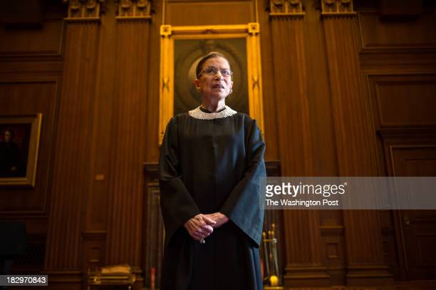 Supreme Court Justice Ruth Bader Ginsburg, celebrating her 20th anniversary on the bench, is photographed in the East conference room at the U.S....