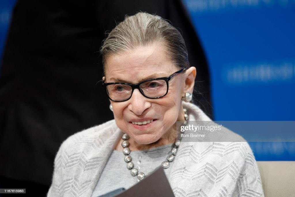 Supreme Court Justice Ruth Bader Ginsburg Delivers Remarks At Georgetown Law : News Photo
