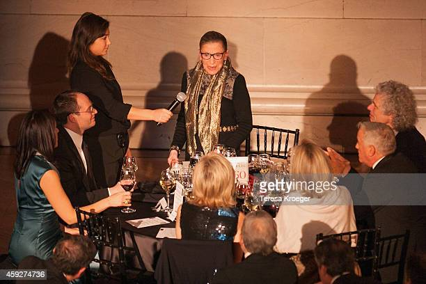Supreme Court Justice Ruth Bader Ginsburg gives a toast at the New Republic Centennial Gala at the Andrew W. Mellon Auditorium on November 19, 2014...