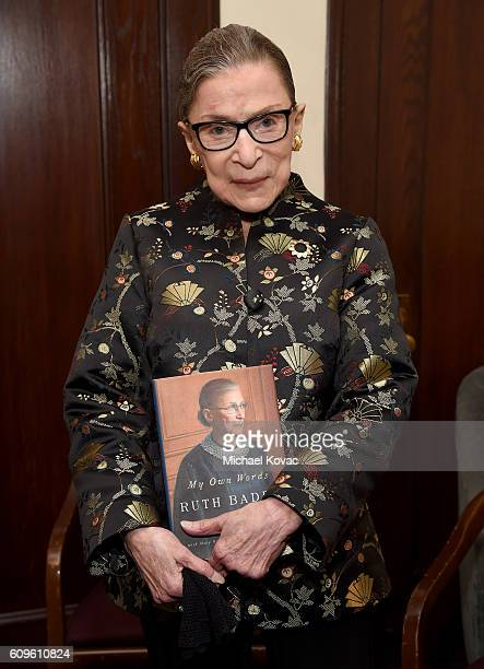 Supreme Court Justice Ruth Bader Ginsburg holds a copy of her new book 'My Own Words' after An Historic Evening with Supreme Court Justice Ruth Bader...