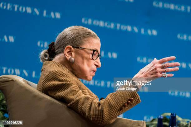 Supreme Court Justice Ruth Bader Ginsburg participates in a discussion at the Georgetown University Law Center on February 10, 2020 in Washington,...