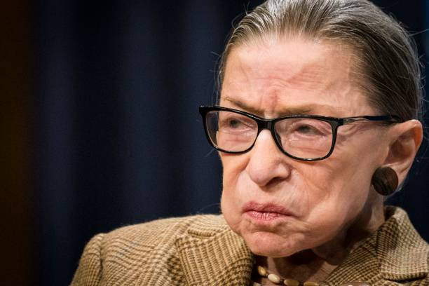 S Supreme Court Justice Ruth Bader Ginsburg participates in a discussion at the Georgetown University Law Center on February 10 2020 in Washington DC...