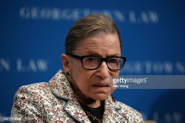 S Supreme Court Justice Ruth Bader Ginsburg participates in a lecture September 26 2018 at Georgetown University Law Center in Washington DC Justice...