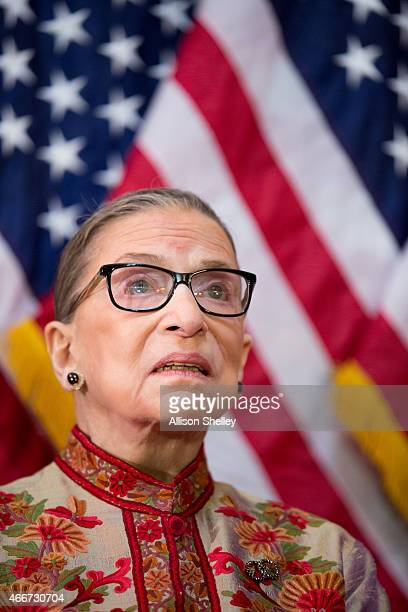 S Supreme Court Justice Ruth Bader Ginsburg participates in an annual Women's History Month reception hosted by Pelosi in the US capitol building on...