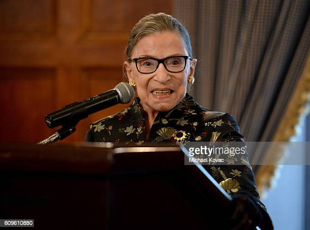 Supreme Court Justice Ruth Bader Ginsburg presents onstage at a reception before An Historic Evening with Supreme Court Justice Ruth Bader Ginsburg...