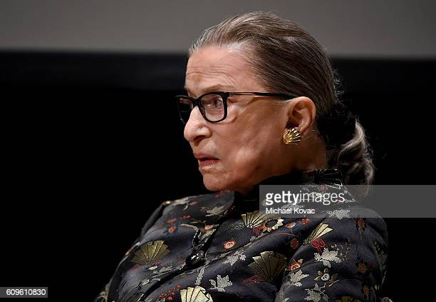 Supreme Court Justice Ruth Bader Ginsburg presents onstage at An Historic Evening with Supreme Court Justice Ruth Bader Ginsburg at the Temple...