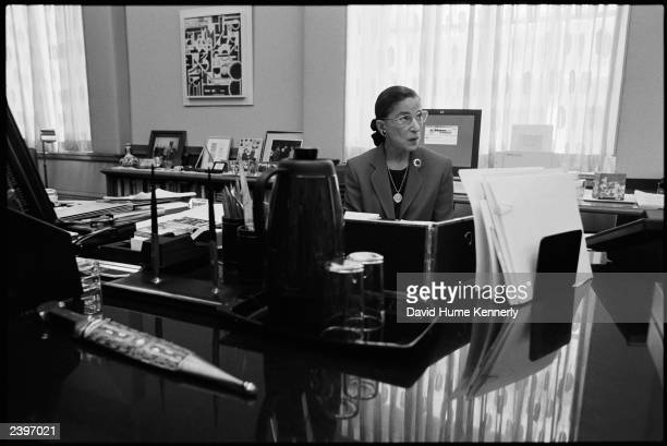 Supreme Court Justice Ruth Bader Ginsburg sits in her chambers at the Supreme Court August 7, 2002 in Washington, DC. Ginsburg is the second woman to...