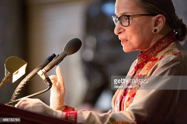 S Supreme Court Justice Ruth Bader Ginsburg speaks at an annual Women's History Month reception hosted by Pelosi in the US capitol building on...