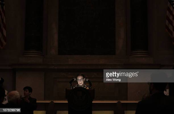 S Supreme Court Justice Ruth Bader Ginsburg speaks during a naturalization ceremony at the Rotunda of the National Archives December 14 2018 in...