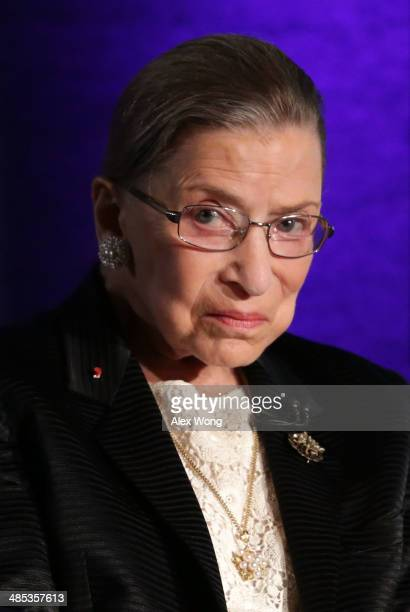 "Supreme Court Justice Ruth Bader Ginsburg waits for the beginning of the taping of ""The Kalb Report"" April 17, 2014 at the National Press Club in..."