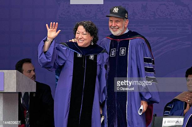 S Supreme Court Justice Sonia Sotomayor and NYU President John Sexton attend the 2012 New York University Commencement at Yankee Stadium on May 16...
