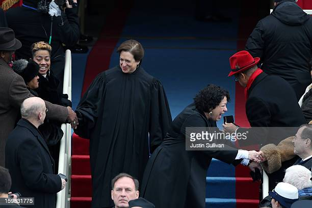 Supreme Court Justice Sonia Sotomayor and Supreme Court Justice Elena Kagan arrive during the presidential inauguration on the West Front of the US...