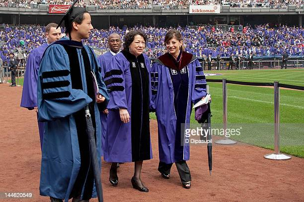 S Supreme Court Justice Sonia Sotomayor and TV financial journalist Maria Bartiromo attend the 2012 New York University Commencement at Yankee...