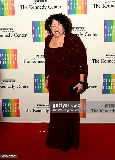 Supreme Court Justice Sonia Sotomayor arrives at a special dinner for Kennedy Center honorees and guests at the State Department in Washington DC on...