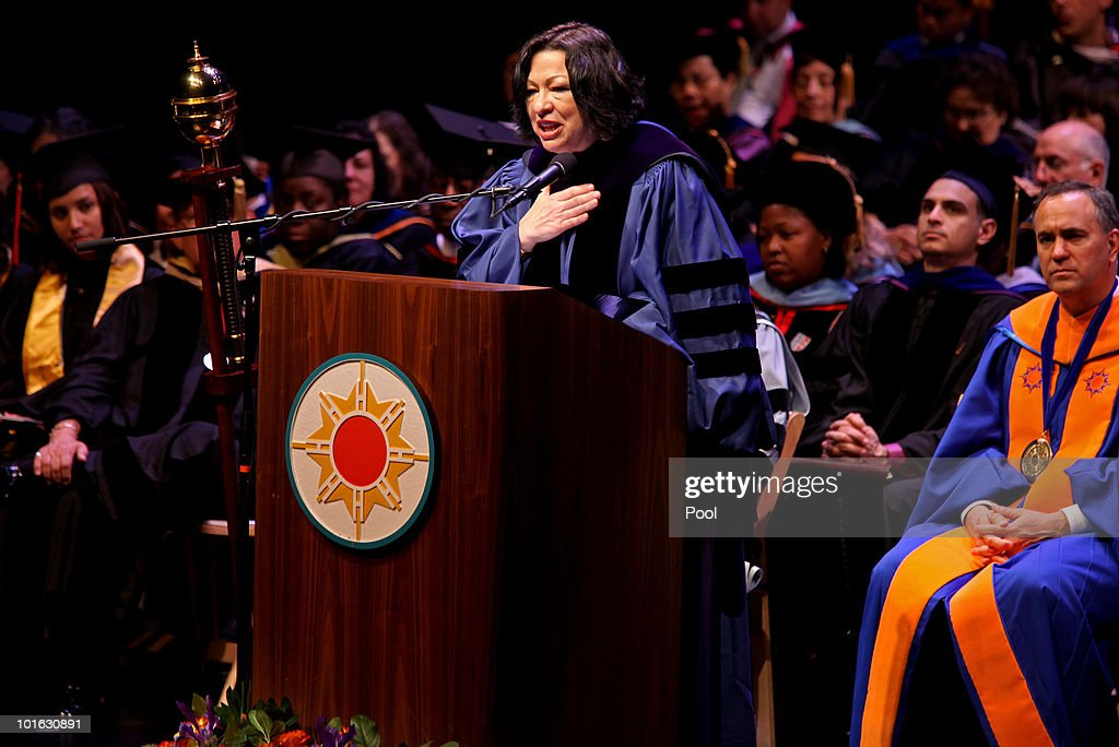 U.S. Supreme Court Justice Sonia Sotomayor delivers the keynote address at the Hostos Community College 39th commencement ceremony June 4, 2010 in New York City. Also pictured are college President Felix Matos Rodriguez (L) and Dr. Matthew Goldstein, chancellor of City University of New York.