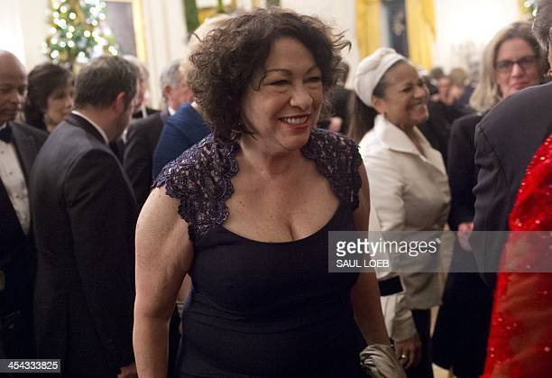 US Supreme Court Justice Sonia Sotomayor leaves following a reception for Kennedy Center honorees hosted by US President Barack Obama in the East...