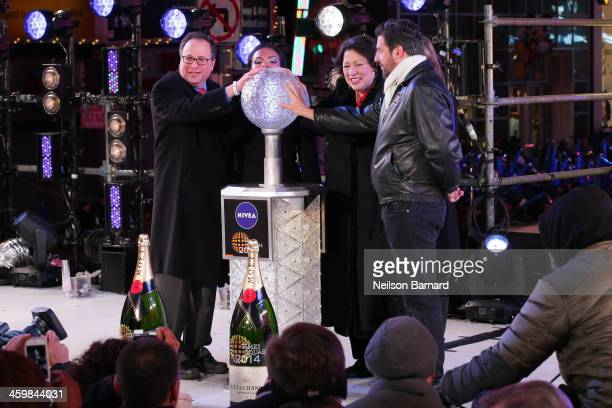 Supreme Court Justice Sonia Sotomayor rings in the year year during The New Year's Eve 2014 Celebration in Times Square on December 31 2013 in New...