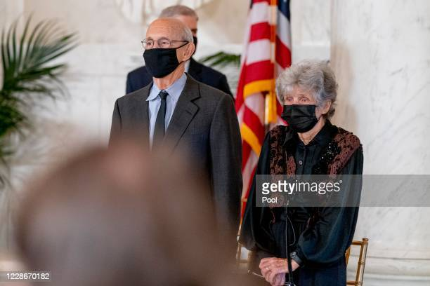 Supreme Court Justice Stephen Breyer and his wife Joanna stand during a private ceremony for Associate Justice Ruth Bader Ginsburg at the Supreme...