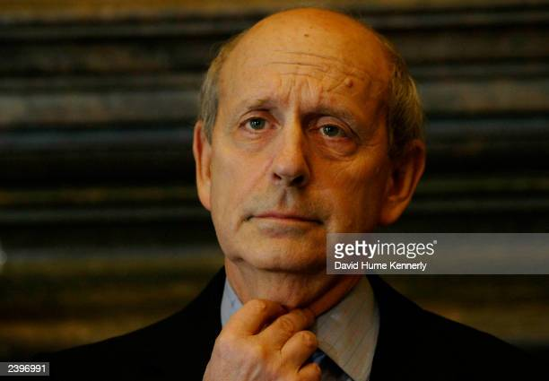 Supreme Court Justice Stephen Breyer attends a news conference at the Supreme Court to urge better pay for federal judges May 28, 2003 in Washington,...