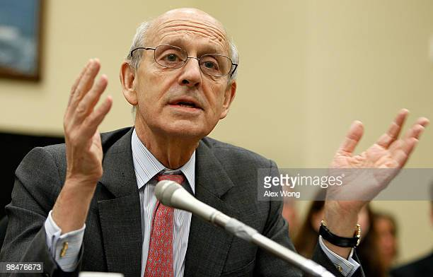Supreme Court Justice Stephen Breyer testifies during a hearing before the Financial Services and General Government Subcommittee of the House...