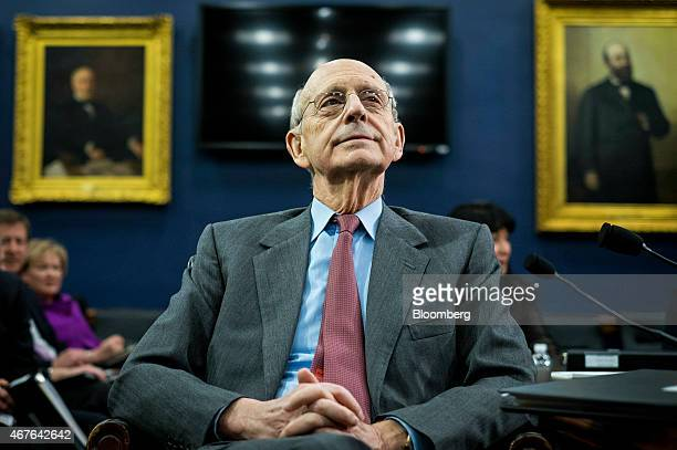 Supreme Court Justice Stephen Breyer waits for the start of a Financial Services and General Government Subcommittee in Washington, D.C., U.S., on...