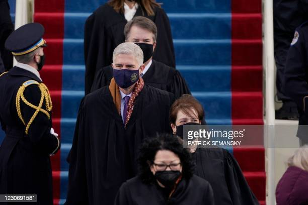 Supreme Court Justices arrive for the inauguration of Joe Biden as the 46th US President on January 20 at the US Capitol in Washington, DC.