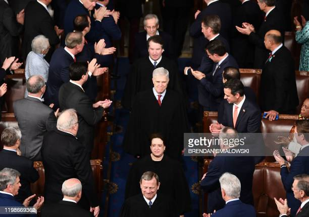 US Supreme Court justices arrive for the State of the Union address at the US Capitol in Washington DC on February 4 2020