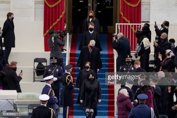 Supreme Court Justices arrive for the the 59th inaugural ceremony on the West Front of the U.S. Capitol on January 20, 2021 in Washington, DC. During...