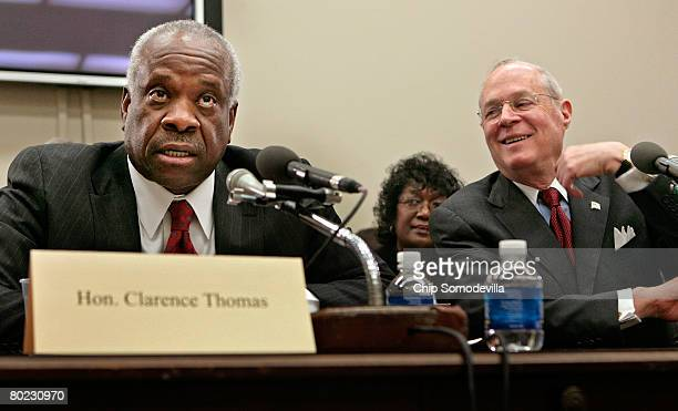 Supreme Court Justices Clarence Thomas and Anthony Kennedy testify before the House Financial Services and General Government Subcommittee on Capitol...