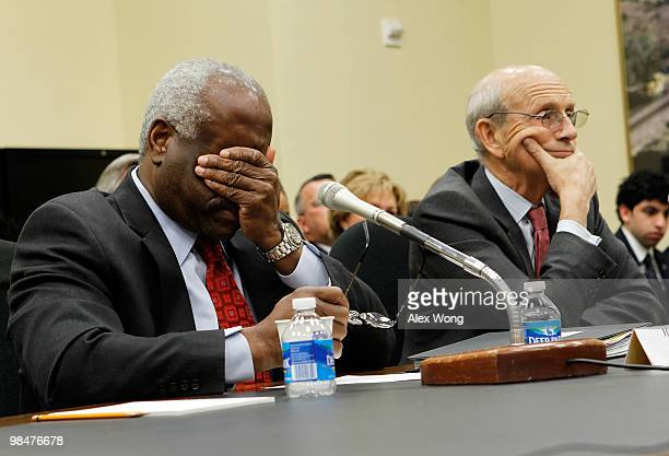 Supreme Court Justices Clarence Thomas and Stephen Breyer testify during a hearing before the Financial Services and General Government Subcommittee...