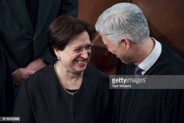 Supreme Court Justices Elena Kagan and Neil Gorsuch arrive in the House chamber for President Donald Trump's State of the Union address to a joint...