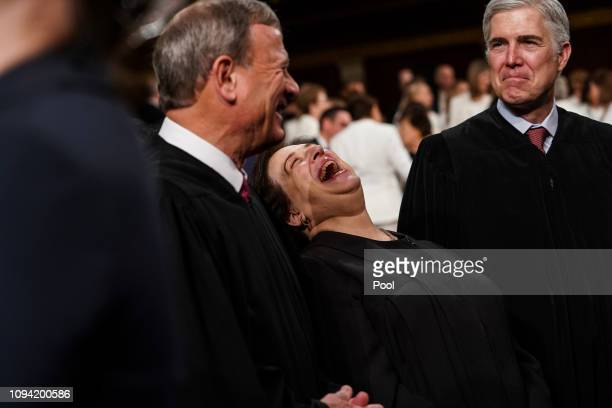 Supreme Court Justices John Roberts, Elena Kagan and Neil Gorsuch attend the State of the Union address in the chamber of the U.S. House of...