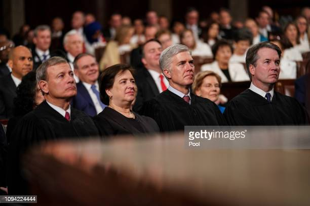 Supreme Court Justices John Roberts Elena Kagan Neil Gorsuch and Brett Kavanaugh attend the State of the Union address in the chamber of the US House...