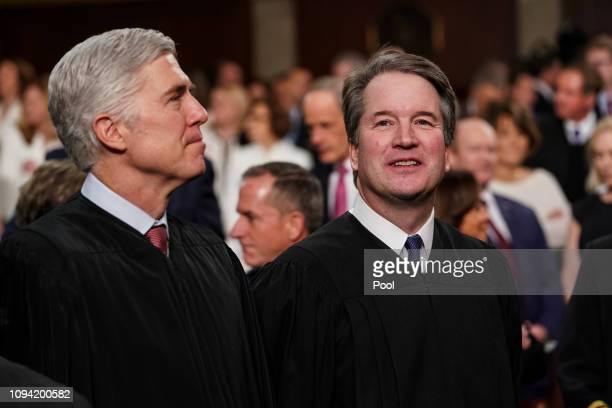 Supreme Court Justices Neil Gorsuch and Brett Kavanaugh attend the State of the Union address in the chamber of the US House of Representatives at...