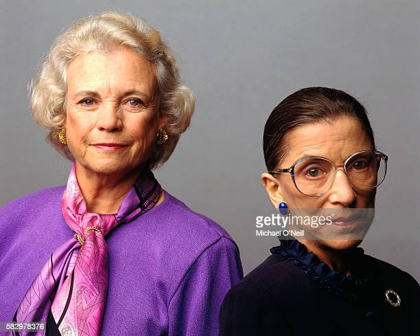 Supreme Court Justices Ruth Bader Ginsburg and Sandra Day O'Connor are photographed for Vanity Fair at Supreme Court of the United States on April...
