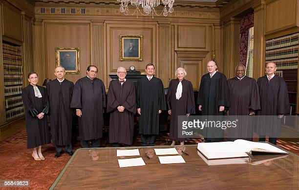 Supreme Court Justices Ruth Bader Ginsburg , David H. Souter, Antonin Scalia, John Paul Stevens, Chief Justice John Roberts, Justices Sandra Day...