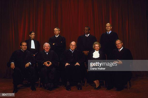 Supreme Court Justices Scalia Ginsburg Stevens Souter Chief Rehnquist Thomas O'Connor Breyer Kennedy in formal portrait