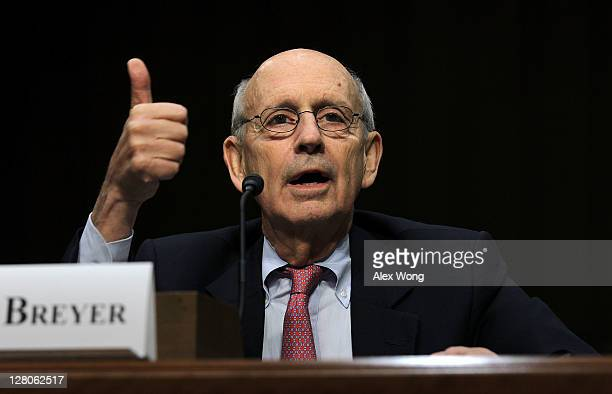 Supreme Court Justices Stephen Breyer testifies during a hearing before the Senate Judiciary Committee October 5, 2011 on Capitol Hill in Washington,...