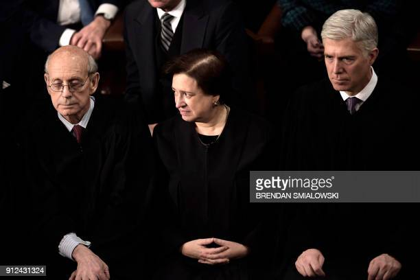 US Supreme Court Justices Stephen G Breyer Elena Kagan and Neil Gorsuch listen as US President Donald Trump delivers the State of the Union address...