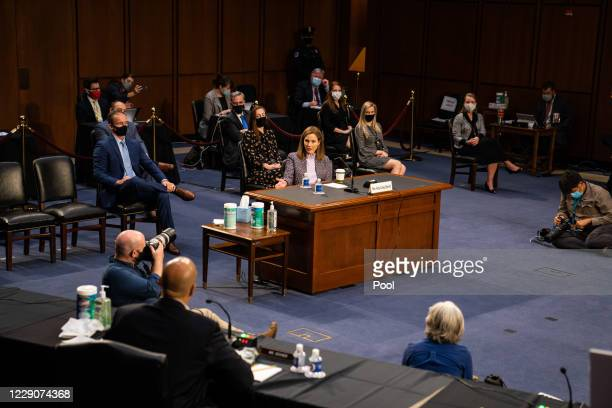 Supreme Court nominee Amy Coney Barrett during the Senate Judiciary Committee hearing on October 14, 2020 in Washington, DC. With less than a month...